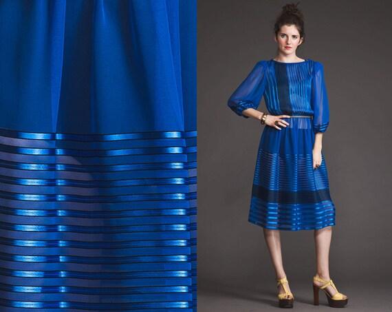 Vintage 80s SHEER Cobalt Blue striped dress//Metallic//print//secretary//Geometric//Long Sleeve