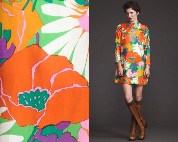 Amazing Vintage 60s Neon mini floral Print Dress//Tent trapeze//XS S M// Pockets// Long sleeve//go go twiggy//mod//scooter