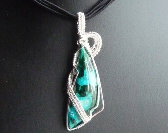 Malachite and Chysocola Sterling Silver Pendant
