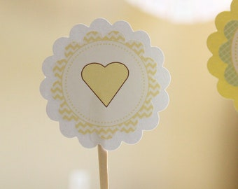 Baby Shower Cupcake Toppers--green and yellow