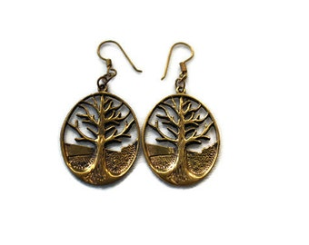 Vintage Bronze Tree of Life Earrings