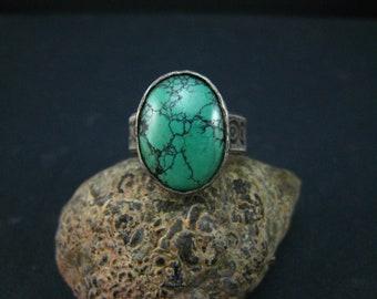 genuine turquoise handmade ring,fine Silver