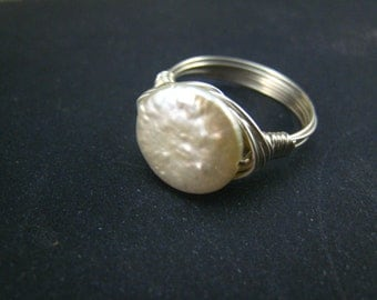 white freshwater pearl coin ring