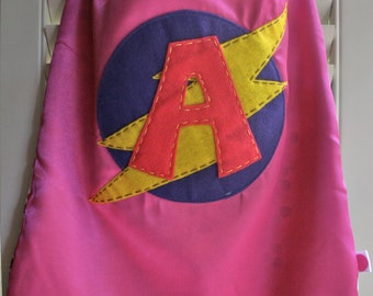 Girls Superhero Cape-PERSONALIZE/CUSTOMIZE PINK-Choose the Initial - Reversible - Superhero Birthdya Party