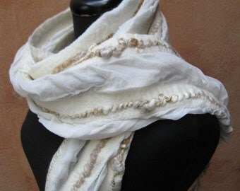 White and Gold Silk and Nuno Felt Scarf