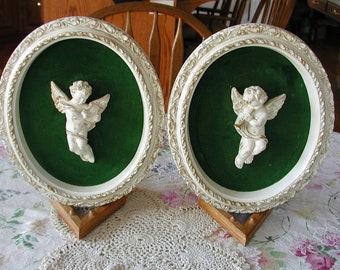 Valentine Gift..1940s..1950s... Beautiful..CHERUB Plaques Set of 2