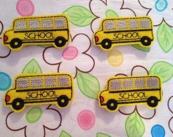 Yellow Embroidered Felt School Bus applique