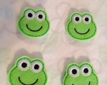 Green Felt Frog Mini Applique-Set of 4 (Each 35mm)