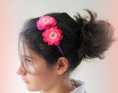 Pink hairband. Handmade hairband. Flower headband. Light pink  hot Girl hairband. Hair accessory. Felted hairband.