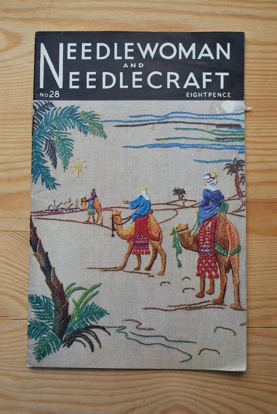 Needlewoman and Needlecraft No.28- Original Vintage Needlework Magazine 1946 - WW11 Small Edition.