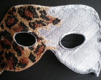 Embroidered Lepoard Kings Mask, Halloween or Mardi Gras Adult Mask
