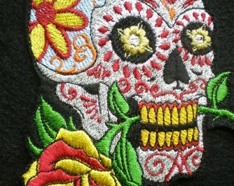 "Large Embroidered Applique ""Day of The Dead""  Sugar Skull Iron On Patch,  Mexican Patch, Biker Patch, Gothic Patch"