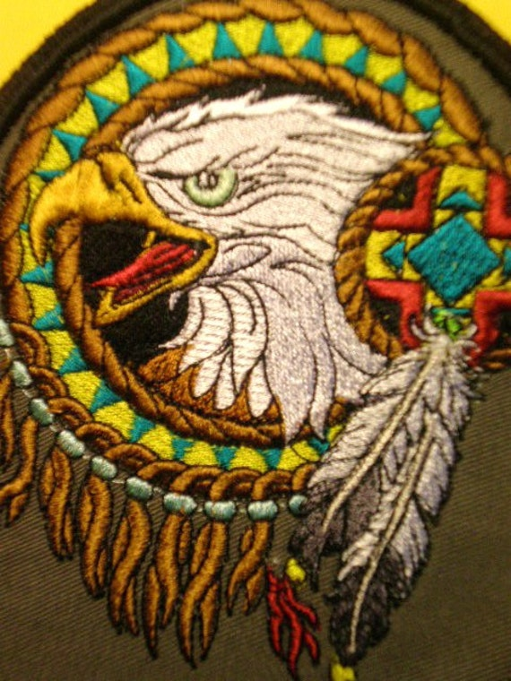 Tribal eagle head embroidered patch by elsiemichelledesigns