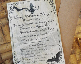 DIY Digital Vintage Haunted Pirate Halloween Invite Printable