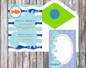 Pool Party Birthday or Baby Shower Invitation - Under the Sea Party Invitation - Blue and White Invitation - Pool party Invitation
