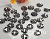 12mm Round Black Diamond,  28pcs, Sew on crystal stone  flatback