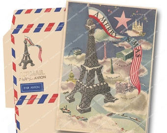 VINTAGE AIRMAIL PRINTABLE Christmas Card and Envelope Vintage French Paris Eiffel Tower Magentabelle instant download 122