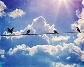 Nursery Art Pastel Purple Blue Sky Birds sitting in a line Rainbow Heart Bokeh Fluffy White Clouds Dreamy Soft Twinkle Star burst