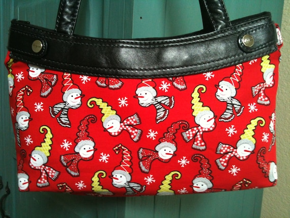 Clearance Snowlady mini-red Thirty One purse cover handmade