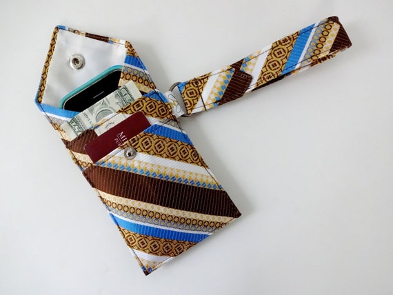 Recycled 3-Pocket Necktie Wristlet Wallet Blue, Brown, Yellow Stripes