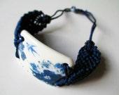 Ceramic Bracelet Jewelry,Original Hand-braided Broken China Bracelet,Adjustable Dark Blue Wristband,Ceramic Piece,Spring Scene