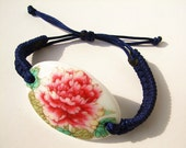 Ceramic Bracelet Jewelry,Original Hand-braided Broken China Bracelet,Adjustable Dark Blue Wristband - dermusensohn2000