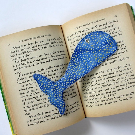 Bookmark, Whale Tail, Blue Fabric Book Mark