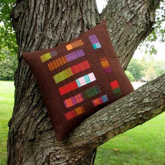 Modern Brown Pillow, Quilted Pillow Cover, 18x18 Pillow