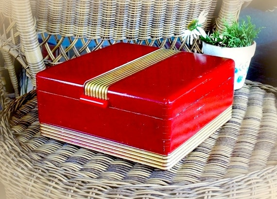 Vintage Red Wooden Box - Art Deco Jewelry Box gold gilt trim etched mirror makeup case c. 1940s 50s