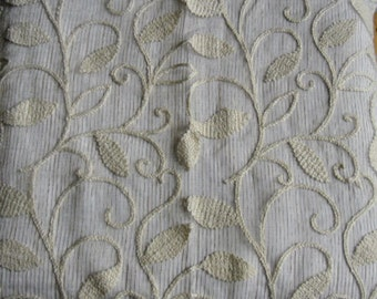 Designer Fabric Sample - Saletex Sheer and Chenille Fabric, Pattern Mississippi, Color Linen