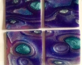 Handmade Polymer Clay Tiles for Mosaic or Inchies type Jewelry Blue Purple Silver Dichroic Look