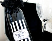 1920's Inspired Black & White Glam Wine Bottle Label -  DIY Print-it-Yourself Wine Label.