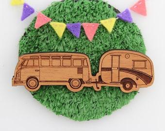 Wood laser cut brooch Cosy vintage Caravan/Kombi combo natural wood finish