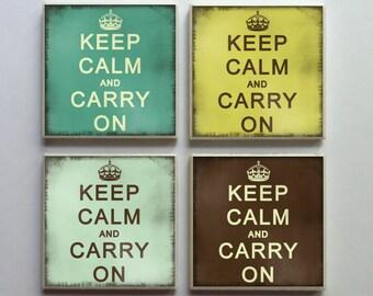 Keep Calm and Carry On - Ceramic Tile 4-pc. Refrigerator Memo Magnet Set Magnets - Set No. 1