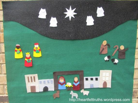 Religious Felt Advent Calendar with Nativity Scene: Dark Green Starry Sky RTS