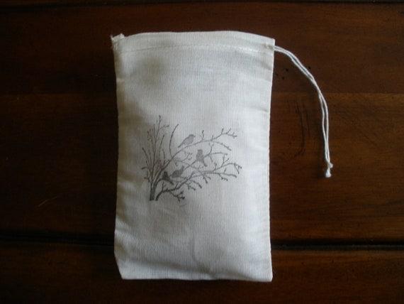 "Muslin Favor Bags - 25 4x6"" Hand Stamped Birds in Tree"