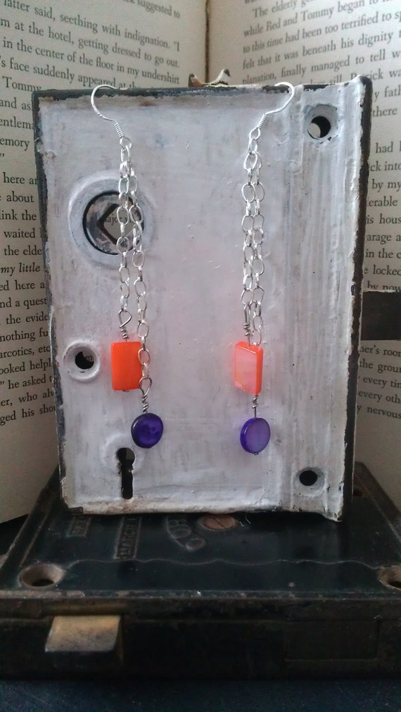 Purple and Pink Mother of Pearl Dangle Earrings