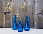 Set of 3 Vintage Blue Glass Bottles Decanters