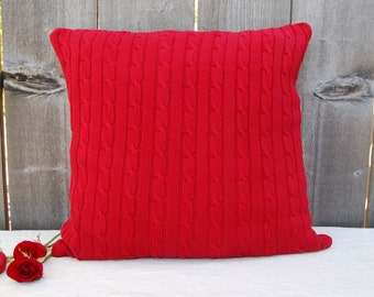 """RED Upcycled Cabble Knit Pillow cover 20"""" x 20"""""""