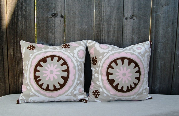 TWO (2) Designers Fabric Pillow covers 18 x18
