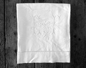 Antique French linen Panel with fantastic monogram for reworking . - CabArtVintage
