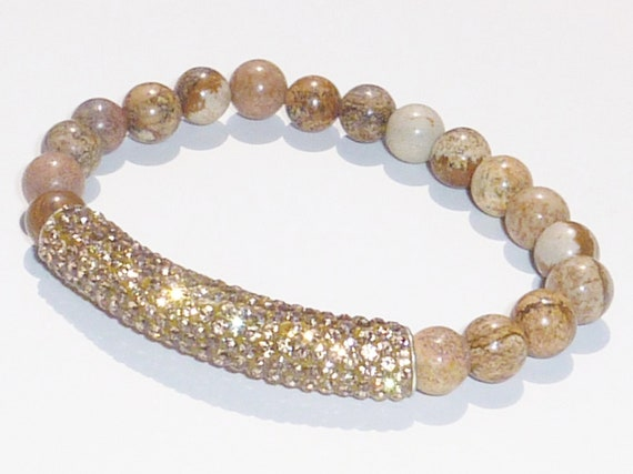 Beaded Bracelet with Semiprecious Gemstone Picture Jasper and Gold Crystal Bar
