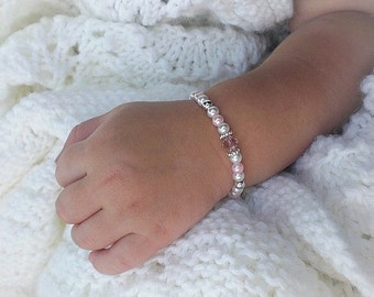 Bracelet for new baby, white pearl baby bracelet, baby shower gift, personalized