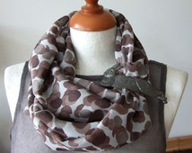 Large Dots Loop Circle Scarf Infinity brown and antique silver dots on gray classic spring fashion, gift under 20 dollars