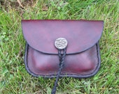 Leather Belt Pouch with Pewter Button