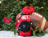 Red and Black Flower Coozie