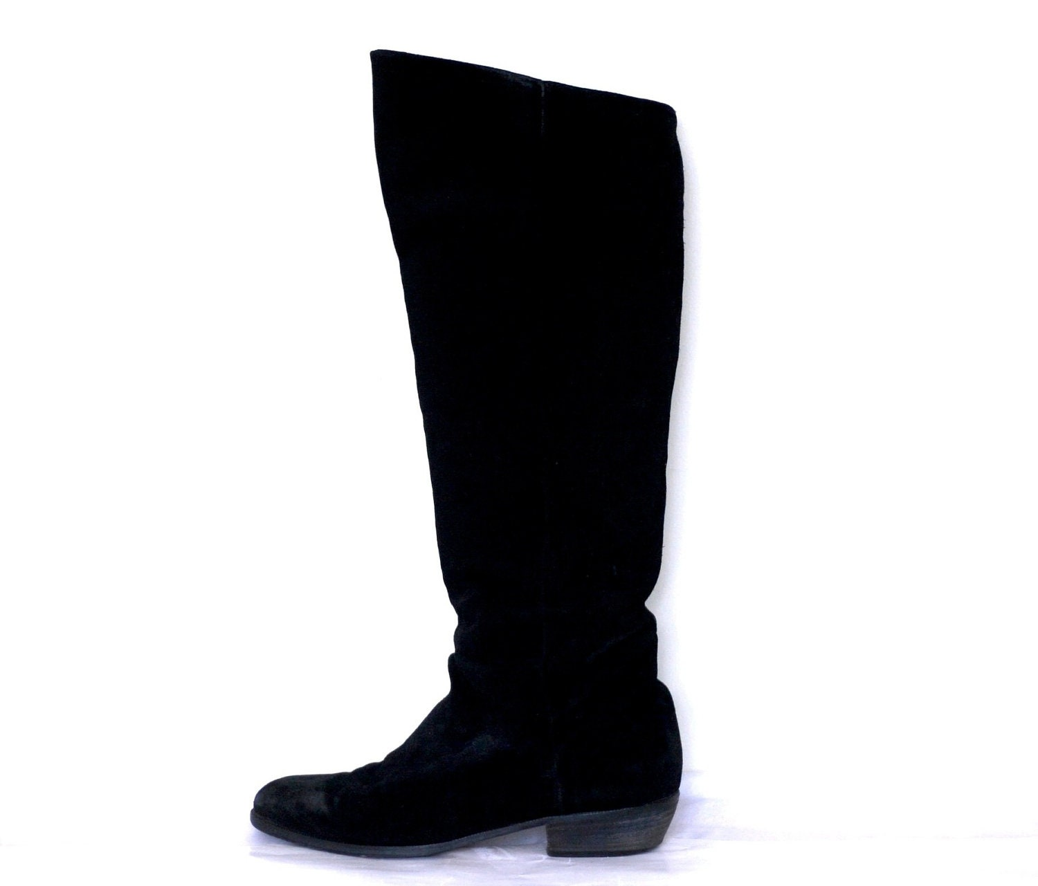 lush 1960s slouchy knee high suede boots by