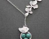 223- Triple Orchid Lariat with Bird and Nest, Sterling Silver necklace, lariat