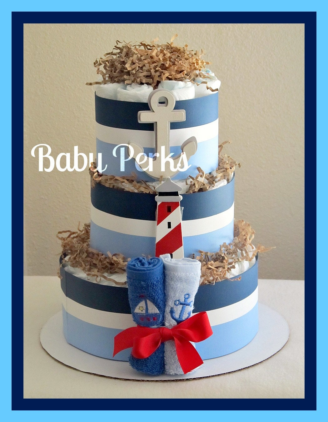 Nautical diaper cake nautical baby shower sailboat theme for Baby shower nautical decoration