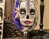 Day of The Dead, Lily with Peacock feather hand painted wine glass - made to order